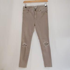 Free People Distressed Tan Jeans